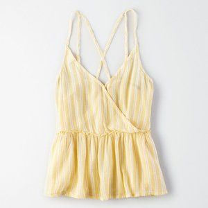 AEO STRIPED CROSS-FRONT CAMI